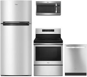 "4-Piece Kitchen Package with WRT518SZFM 28"" Top Freezer Refrigerator, WFE520S0FS 30"" Electric Freestanding Range, WMH31017FS 30"" Over The Range Microwave oven and WDT720PADM 24"" Built In Dishwasher in Stainless Steel"
