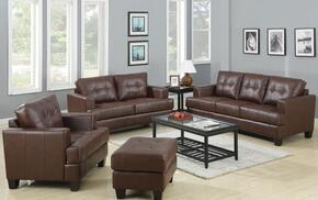 Samuel 504071SLCO 4 PC Living Room Set with Sofa + Loveseat + Chair + Ottoman  in Dark Brown Color