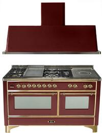 "2-Piece Antique White Kitchen Package with UM150FSDMPA 60"" Freestanding Dual Fuel Range (Brass Trim, 5 Burners, French Cooktop) and UAM150A 60"" Wall Mount Range Hood"