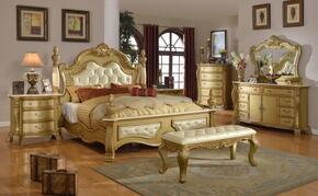 Lavish LAVISHKDMCNB 7 PC Bedroom Set with King Size Bed + Dresser + Mirror + Chest + 2 Nightstands + Bench in a Gold finish