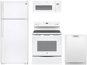 "4-Piece White Kitchen Package with GTS18GTHWW 28"" Top Freezer Refrigerator, JBS60DKWW 30"" Freestanding Electric Range, JVM3160DFWW 30"" Over the Range Microwave, and GDF510PGJWW 24"" Full Console Dishwasher"