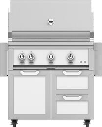 "36"" Freestanding Liquid Propane Grill with GCR36WH Tower Grill Cart with Double Drawer and Door Combo, in Froth White"