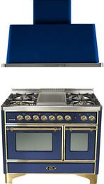 "2-Piece Midnight Blue Kitchen Package with UMD100FDMPBL 40"" Freestanding Dual Fuel Range (Brass Trim, 4 Burners, Griddle) and UAM100BL 40"" Wall Mount Range Hood"