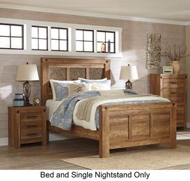 Ladimier King Bedroom Set with Panel Bed, and Nightstand in Golden Brown