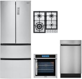 "5-Piece Stainless Steel Kitchen Package with HRF15N3AGS 28"" French Door Refrigerator, HCC2230AGS 24"" Natural Gas Cooktop, HCH2100ACS 24"" Wall Mount Hood, HCW225LAES 24"" Single Wall Oven, DWL7075MSS 24"" Fully Integrated Dishwasher"