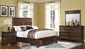 00186QBDMN Grandview 4 Piece Bedroom Set with Storage Queen Bed, Mirror and Nightstand, in Brown