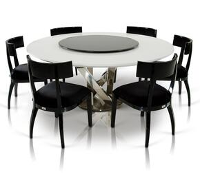 VGUNAC833-180-WHTBCH A&X Spiral Round Dining Table + 6 Black Chairs in White Finish