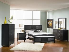 Grove Collection 201651KE5SET 5 PC Bedroom Set with King Size Platform Bed + Dresser + Mirror + Chest + Nightstand in Black Finish