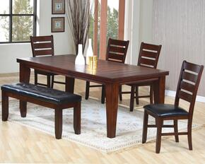 Imperial 101881SET 6 PC Dining Room Set with Table + 4 Side Chairs + Bench in Rustic Oak Finish