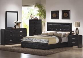 Dylan Collection 201401KWSET 5 PC Bedroom Set with California King Size Panel Bed + Dresser + Mirror + Chest + Nightstand in Black Finish