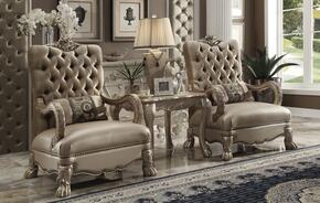 Dresden 52092CT 3 PC Living Room Set with 2 Accent Chairs + End Table in Gold Patina Finish