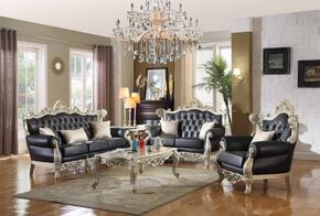 5 Piece Living Room Set with Loveseat, Chair, Coffee Table and End Table in Silver Finish