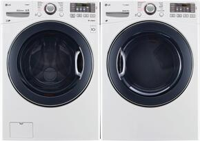 "White Front Load Laundry Pair with WM3770HWA 27"" Washer and DLGX3571W 27"" Gas Dryer"