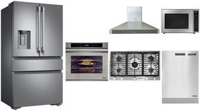 "Dacor 6 Piece Kitchen Package With RNCT365GSNGH 36"" Gas Cooktop, DTO130S208V 30"" Electric Wall Oven, DTF36FCS 36"" French Door Refrigerator, DHW361 Range Hood, DDW24S 24"" Dishwasher, DMW2420B 24"" Microwave and ADMWTK301S Trim Kit"