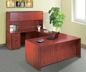 KIT1N101C Desk Shell Complete with Bridge, Credenza, Hutch, and Pedestal Box File in Cherry Finish