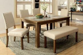 Melston I Collection CM3531T4SCBN 6-Piece Dining Room Set with Rectangular Table, 4 Side Chairs and Bench in Natural Tone Finish
