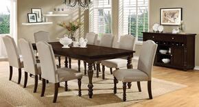 Hurdsfield Collection CM3133T8SCSV 10-Piece Dining Room Set with Rectangular Table, 8 Side Chairs and Server in Antique Cherry