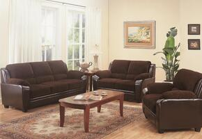 Monika 502811SLC 3 PC Living Room Set with Sofa + Loveseat + Armchair in Chocolate Color