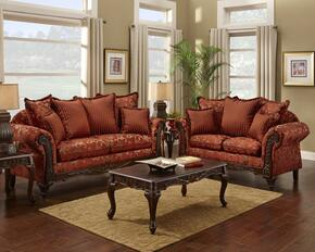 724400-SL Two Piece Cecelia Living Room Set, Sofa + Love Seat, in Red