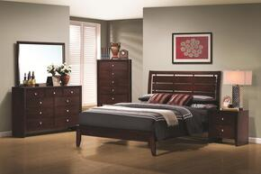 Serenity Collection 201971F6P 6 PC Bedroom Set with Full Platform Bed + Chest + Dresser + Mirror + 2 Nightstands in Rich Merlot Finish