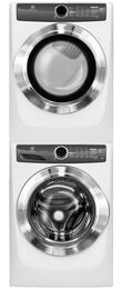 "White Front Load Laundry Pair with EFLS517SIW 27"" Washer, EFME517SIW 27"" Electric Dryer and STACKIT7X Stacking Kit"