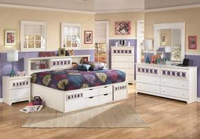 Zayley Full Bedroom Set with Bedside Storage Bed, Dresser, Mirror and Nightstand in White
