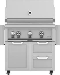 "36"" Freestanding Natural Gas Grill with GCR36 Tower Grill Cart with Three Doors, in Steeletto Stainless Steel"