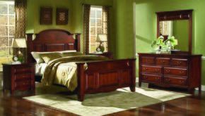 6740EBDMNN Drayton Hall 5 Piece Bedroom Set with King Bed, Dresser, Mirror and Two Nightstands, in Bordeaux