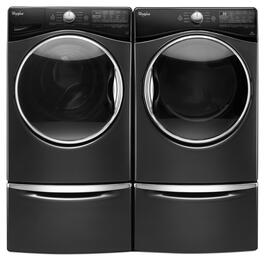 "Black Diamond Front Load Laundry Pair with WFW92HEFBD 27"" Washer, WED92HEFBD 27"" Electric Dryer and 2 XHPC155YBD Laundry Pedestals"
