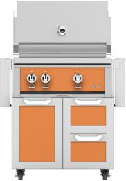 """30"""" Freestanding Liquid Propane Grill with GCR30OR Tower Grill Cart with Double Drawer and Door Combo, in Citra Orange"""