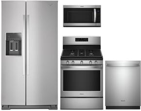 "4-Piece Stainless Steel Kitchen Package with WRS586FIEM 36"" Side-by-Side Refrigerator, WFG540H0ES 30"" Freestanding Gas Range, WDT720PADM 24"" Fully Integrated Dishwasher and MH53520CS 30"" Over the Range Microwave"