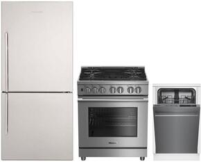 "3-Piece Kitchen Package with BRFB1822SSN 30"" Bottom Freezer Refrigerator, BDFP34550SS 30"" Freestanding Dual Fuel Range, and DWS55100SS 18"" Built In Fully Integrated Dishwasher in Stainless Steel"