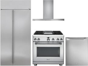 "4-Piece Stainless Steel Kitchen Package with ZISS480NKSS 36"" Side by Side Refrigerator, ZGP364NDRSS 36"" Freestanding Gas Range, ZV800SJSS 36"" Wall Mount Hood, and ZDT915SPJSS 24"" Fully Integrated Dishwasher"