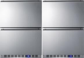 "Stainless Steel Undercounter Refrigerator/Freezer Drawer Pair with CL2R248 24"" Drawer Refrigerator and CL2F249 24"" Drawer Freezer"