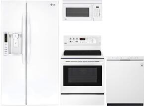 "4-Piece Kitchen Package with LSXS26326W 36"" Side by Side Refrigerator, LRE3193SW 30"" Freestanding Electric Range, LMC1375SW 22"" Countertop Microwave, and LDS5540WW 24"" Built In Semi-Integrated Dishwasher in White"