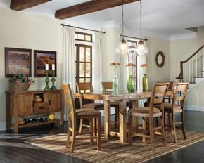 Regine Collection 8-Piece Dining Room Set with Dining Room Counter Table, 6 Barstools and Server in Light Brown