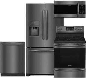 "Gallery 4-Piece Black Stainless Steel Kitchen Package with FGHB2868TD 36"" French Door Refrigerator, FGEF3036TD 30"" Freestanding Electric Range, FGID2466QD 24"" Fully Integrated Dishwasher and FGMV176NTD 30"" Over-the-Range Microwave"