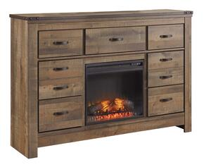 Becker Collection BR-549-22F1 7-Drawer Dresser with W100-01 Electric Fireplace Insert in Brown