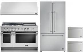 "4 Piece Kitchen Package With RGV2485GDL 48"" Gas Freestanding Range, VS48 48"" Wall Mount Hood, RF201ACJSX1 36"" French Door Refrigerator and two DD24SV2T7 24"" Drawers Dishwasher in Stainless Steel"