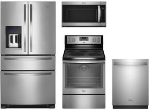 "4-Piece Stainless Steel Kitchen Package with WRX735SDBM 36"" French Door Refrigerator, WFE540H0ES 30"" Freestanding Electric Range, WMH53520CS 30"" Over the Range Microwave, and WDT730PAHZ 24"" Fully Integrated Dishwasher"