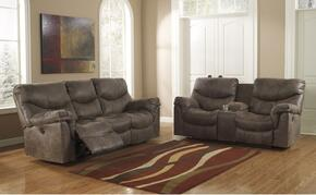 Alzena 71400PSL 2-Piece Living Room Set with Power Reclining Sofa and Power Double Reclining Loveseat in Gun Smoke