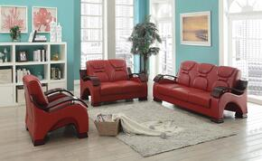 G489SET 3 PC Living Room Set with Sofa + Loveseat + Armchair in Red Color