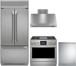 "4-Piece Professional Stainless Steel Kitchen Package with ZIPP360NHSS 36"" French Door Refrigerator, ZDP364NRPSS 36"" Dual Fuel Range (4 Burners and Grill), ZV36SSJSS 36"" Range Hood and ZDT915SPJSS 24"" Fully Integrated Dishwasher"