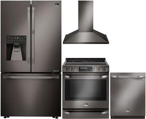 "Studio Series 4-Piece Kitchen Package With LSFXC2476D 36"" Counter Depth French Door Refrigerator, LSSE3029BD 30"" Slide-in Electric Range, LSHD3089BD 30"" Wall Mount Convertible Hood and LSDF9969BD 24"" Built In Dishwasher in Black Stainl"