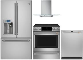 "4-Piece Stainless Steel Kitchen Package with CYE22USHSS 36"" French Door Refrigerator, C2S986SELSS 30"" Slide In Dual Fuel Range, PV970NSS 30"" Wall Mount Hood, and CDT835SSJSS 24"" Fully Integrated Dishwasher"