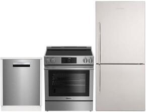 "3-Piece Kitchen Package with BRFB1812SSN 30"" Bottom Freezer Refrigerator, BERU30420SS 30"" Freestanding Electric Range, and a free DW25502SS 24"" Built In Full Console Dishwasher in Stainless Steel"