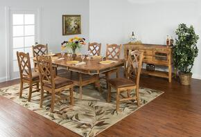 Sedona Collection 1151RODT6C 7-Piece Dining Room Set with Dining Table and 6 Chairs in Rustic Oak Finish