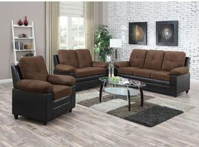 Santiana Collection 51365SLCT 6 PC Living Room Set with Sofa + Loveseat + Chair + 3 PC Table Set in Chocolate Easy Rider Color
