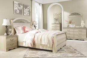 Catalina Queen Bedroom Set with Sleigh Bed, Dresser, Mirror and Nightstand Antique White