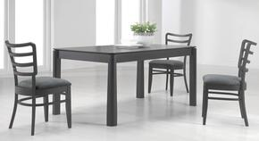 DIANA-DT-SET Diana Rectangular Wood Dining Table in Matt Black Finish + 4 Dining Room Chairs